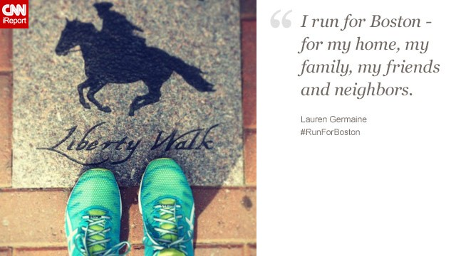 Lauren Germaine, 33, lives in North Carolina but calls Boston home. She hopes to run the marathon there next year.