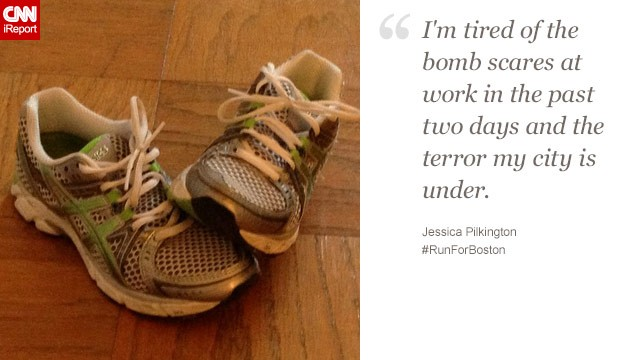 """I'd like to show marathon runners and those watching that I'm inspired by so many of them,"" said Jessica Pilkington, a 27-year-old who works in Boston."