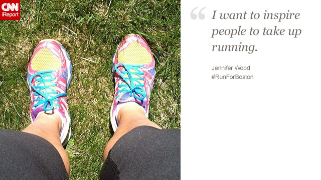 """I run for the support, the spectators and the victims of Boston,"" said Jennifer Wood, 34, from Syracuse, New York."