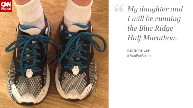 "Katherine Lee, a 52-year-old from Missouri, and her daughter have been to the Boston Marathon before. They're running with Boston ""on our minds and in our hearts."""