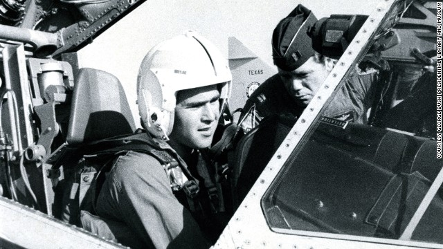 George W. Bush sits in the cockpit of an F-102 fighter. Bush served in the Texas Air National Guard from 1968 to 1973.