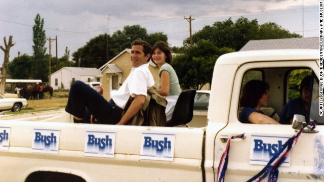 George W. Bush campaigns for Congress with his wife Laura in 1978.