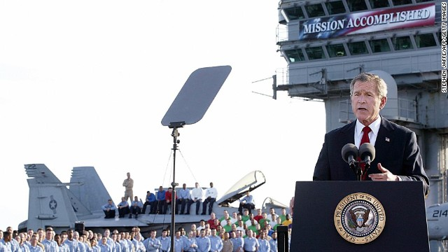 "George W. Bush announces on May 1, 2003, that ""major combat operations"" had ended in Iraq. He made the announcement aboard the aircraft carrier USS Abraham Lincoln, which he had landed on in a Navy jet."