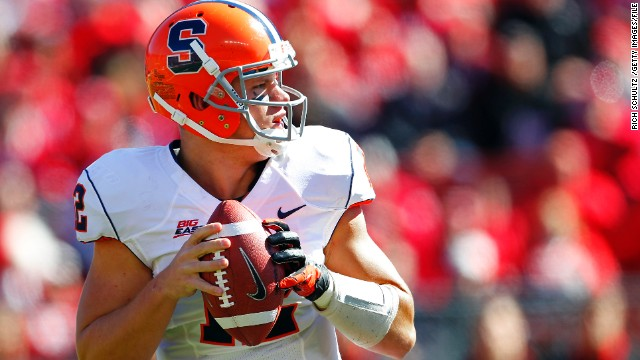 Ryan Nassib of Syracuse looks to pass against the Rutgers Scarlet Knights at High Point Solutions Stadium on October 13, 2012, in Piscataway, New Jersey.