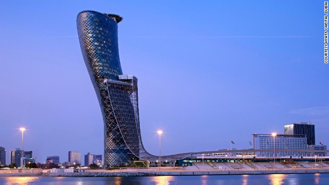 The 189-room Hyatt property occupies floors 18 through 33 of the Capital Gate skyscraper in Abu Dhabi. The building leans at an angle of 18 degrees.