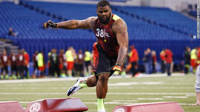 Sheldon Richardson of Missouri works out during the 2013 NFL Combine at Lucas Oil Stadium on February 25 in Indianapolis.