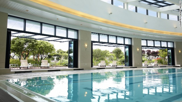 Relax after a day of traveling in the 25-meter swimming pool at the Hyatt Regency Incheon in South Korea.