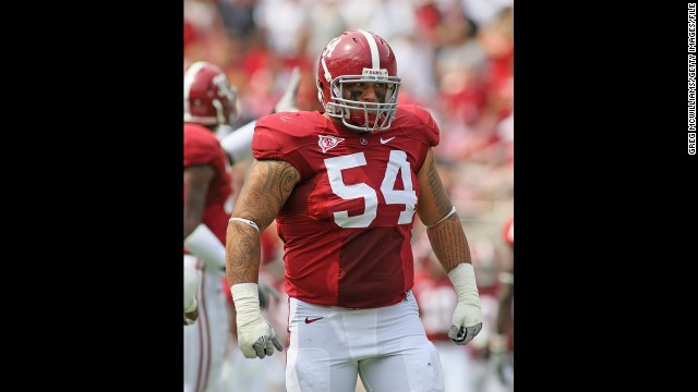 Defensive lineman Jesse Williams of Alabama lines up against Kent State on September 3, 2011, at Bryant Denny Stadium in Tuscaloosa, Alabama.