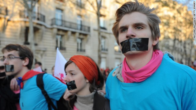 Opponents of same-sex marriage protest at the National Assembly in Paris on April 23.