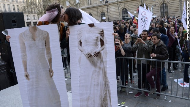 Supporters cheer in front of the Paris City Hall on April 23. If the measure is enacted, France would be the ninth country in Europe to allow same-sex marriage.