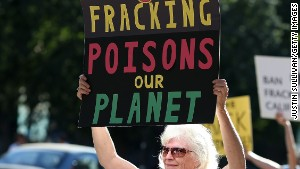 People protest fracking outside the California Environmental Protection Agency in Sacramento last year.\n