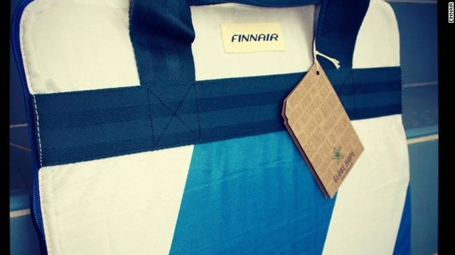 Passengers can own a piece of the airline, thanks to Finnair's partnership with Global Hope, who makes bags from old uniforms.