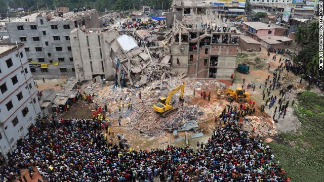 "People rescue garment workers trapped at an eight-story building outside Dhaka, Bangladesh, on Thursday, April 25, after<a href='http://www.cnn.com/2013/04/25/world/asia/bangladesh-building-collapse/index.html'/> it collapsed the day before and killed nearly 200 people. Authorities fear many others remain trapped in the ruins of the building, which housed <a href='http://money.cnn.com/2013/04/24/news/companies/bangladesh-factory-collapse/index.html'>garment factories</a> and shops, the national news agency reported."" width=""640″ height=""360″ border=""0″></div> <div> </div> <div>4/25/2013 –  <a href="