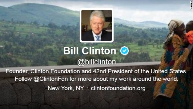 @BillClinton tweets, abandons @PrezBillyJeff