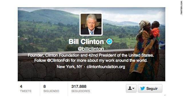 Bill Clinton abre cuenta en Twitter y supera los 300 mil seguidores en pocas horas