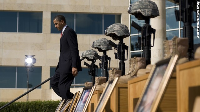 "Thirteen people were shot and killed by Maj. Nidal Hasan at Fort Hood in Killeen, Texas, on November 5, 2009. Speaking to an estimated 15,000 people at a memorial service at the post, Obama called the act ""incomprehensible"" and vowed that justice would be done."