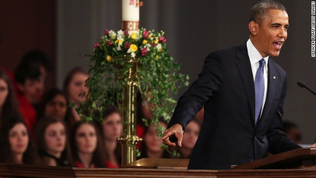 Obama speaks at the Cathedral of the Holy Cross following the Boston Marathon bombings that killed three people and injured at least 264 on April 15. Suspect Tamerlan Tsarnaev was killed during an encounter with police and his brother Dzhohar Tsarnaev pleaded not guilty and is currently awaiting trial.