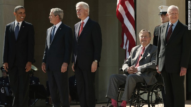 President Barack Obama and former presidents George W. Bush, Bill Clinton, George H.W. Bush and Jimmy Carter arrive on stage for the George W. Bush Presidential Center dedication ceremony in Dallas, on April 25. Only a few times in history have three or more American presidents been photographed together. Click through to see some of those historic moments.