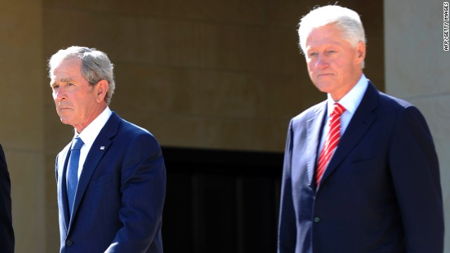Bush on track to leave hospital; Clinton reaches out