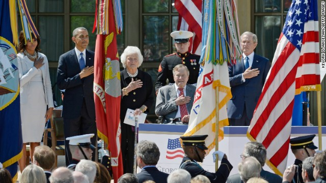 First lady Michelle Obama, President Barack Obama, former first lady Barbara Bush, former President George H.W. Bush and former President George W. Bush attend the opening ceremony of the George W. Bush Presidential Center on Thursday, April 25, 2013 in Dallas. Republicans and Democrats alike and world leaders were in attendance during the official dedication of the facility.