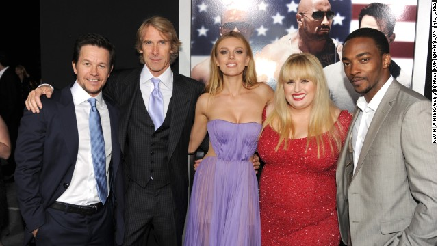 Mark Wahlberg, Michael Bay, Bar Paly, Rebel Wilson and Anthony Mackie attend the