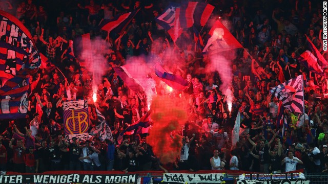 Fans let off flares during the UEFA Europa League semi-final first leg match on April 25 between FC Basel 1893 and Chelsea in Basel, Switzerland.