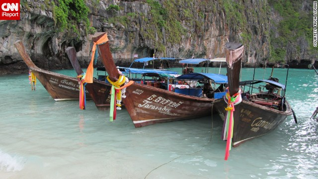 """As far as exotic yet relatively inexpensive vacations go, you will be surprised by this place,"" says Erich Ludwig. He and his wife took a day trip to the Phi Phi Islands on one of these boats while vacationing in Phuket, Thailand."