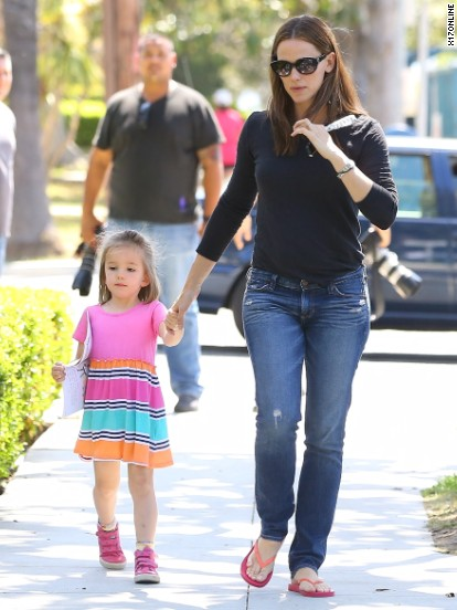 Jennifer Garner talks a walk on April 25.