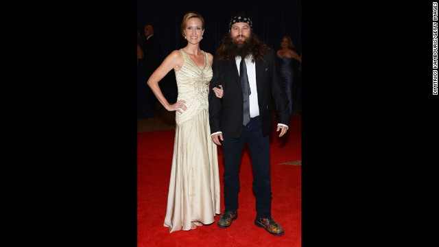 "Korie and Willie Robertson, from ""Duck Dynasty,"" arrive on the red carpet."