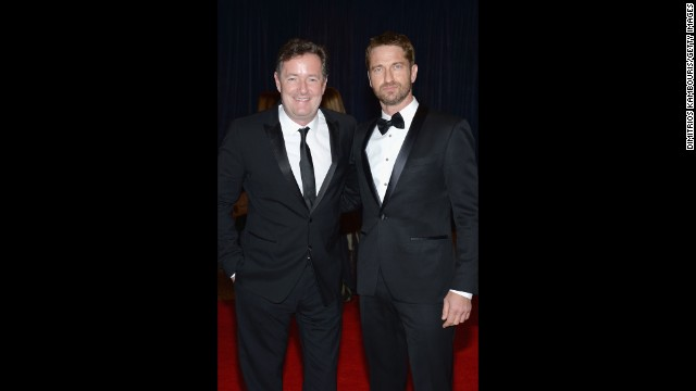 CNN host Piers Morgan and actor Gerard Butler attend the dinner.