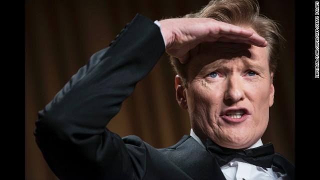 Conan O'Brien performs after the president's speech.