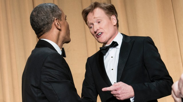 President Barack Obama and emcee Conan O'Brien shake hands at the end of the White House Correspondents' Dinner at the Washington Hilton on Saturday, April 27.
