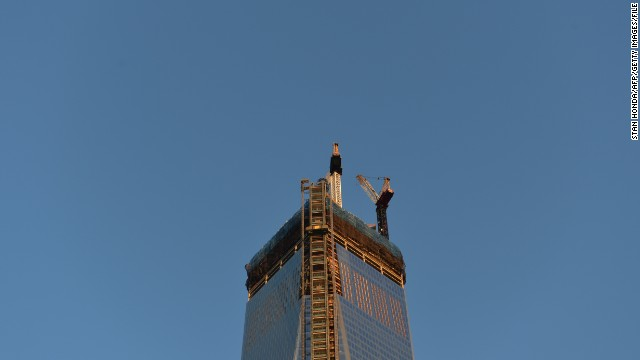 A view of the top of One World Trade Center as seen on April 2, 2013 in New York.