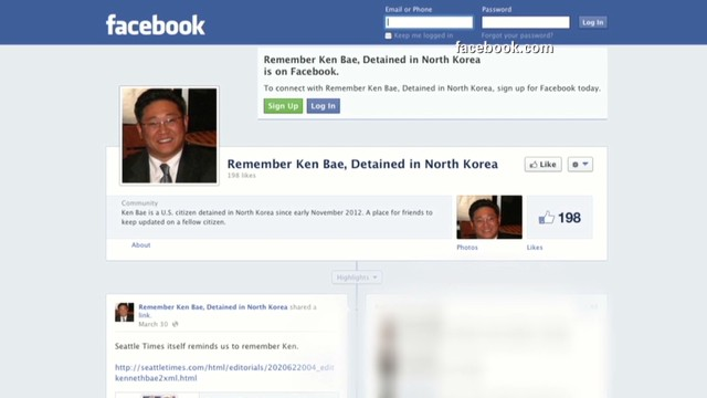 Facebook page dedicated to Kenneth Bae after his November detention in North Korea.