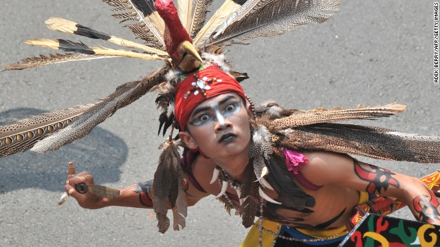 An ethnic Dayak man from Central Kalimantan dances during the Dayak Festival in Jakarta, Indonesia on April 28. 