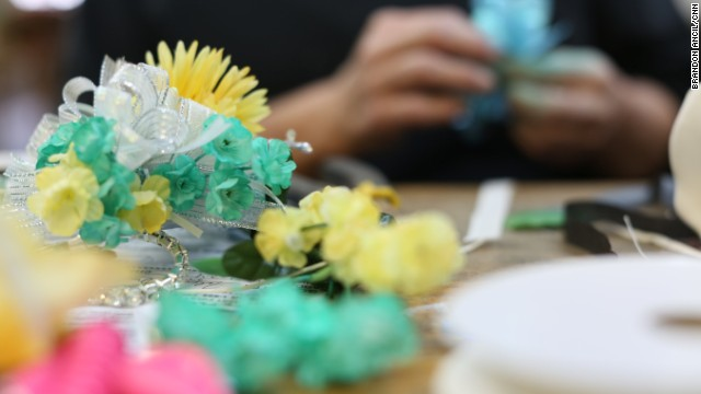 Karen Bloodworth, owner of the Rochelle Florist & Gift Shop in Wilcox County, made wrist corsages ordered by students attending the integrated prom.