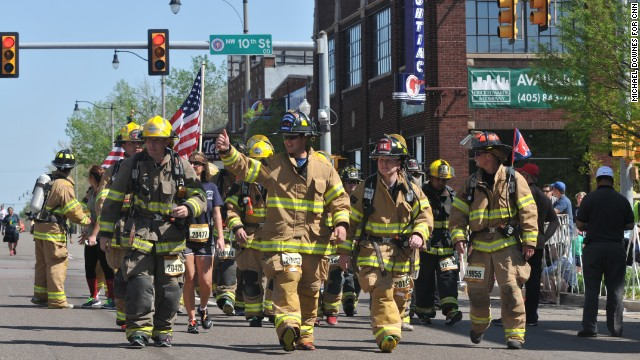 Firefighters walked and ran in honor of the victims in Oklahoma City and Boston.