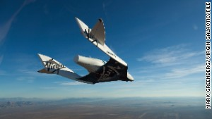 Virgin Galactic\'s SpaceShipTwo during a glide flight.