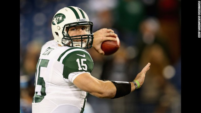 Tebow warms up before the Jets' game against the Tennessee Titans in December in Nashville.