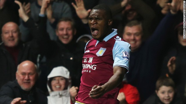 Christian Benteke celebrates after scoring his second goal for Aston Villa in the 6-1 win over Sunderland.