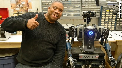 Ex-cop builds robot from household goods