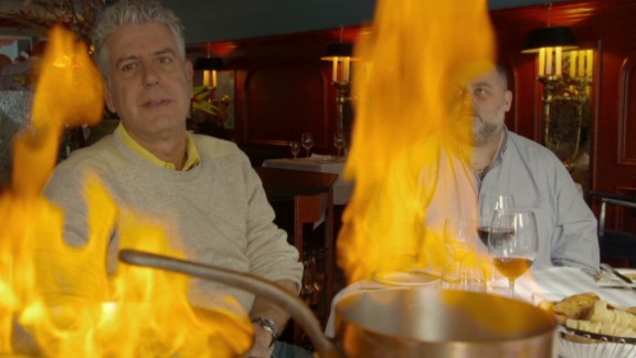 Anthony Bourdain at le Continental in Quebec City, Canada.