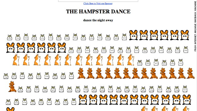 <a href='http://hampsterdance.com' target='_blank'>Hampsterdance.com</a>, shown here as it looked in April 1999, gained popularity for its catchy background tune and cute rodent graphics.