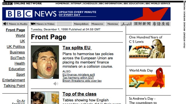 This screenshot of <a href='http://news.bbc.co.uk' target='_blank'>news.bbc.co.uk</a> in December 1998 exemplifies the narrow, vertical design of websites in the 1990s to accommodate lower-resolution monitors.
