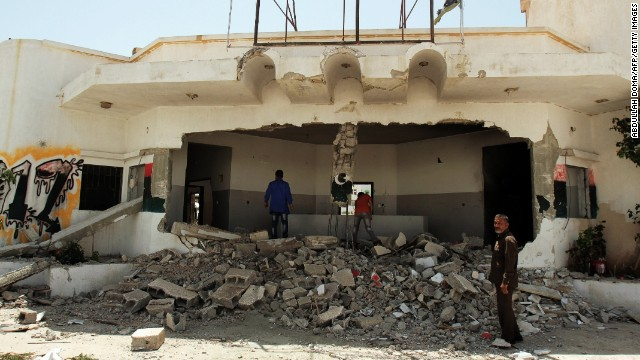 Remains of the building of a defense ministry brigade bombed by residents in Benghazi, Libya on April 29, 2013.