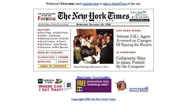 The <a href='http://nyt.com' target='_blank'>New York Times front page</a>, as it appeared in December 1996, is compact by modern Web design standards.