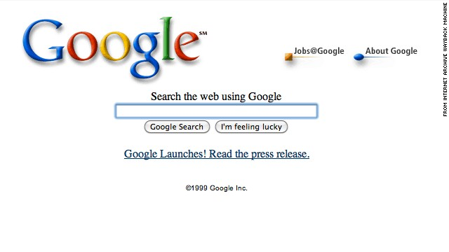 The <a href='http://google.com' target='_blank'>Google.com</a> landing page of October 1999 looks similar to its current version. But the site now offers many other services beyond search.