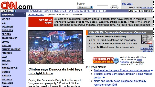 Purple and lavender accents adorned the <a href='http://www.cnn.com'>CNN.com</a> homepage in August 2000. Election season was well under way.