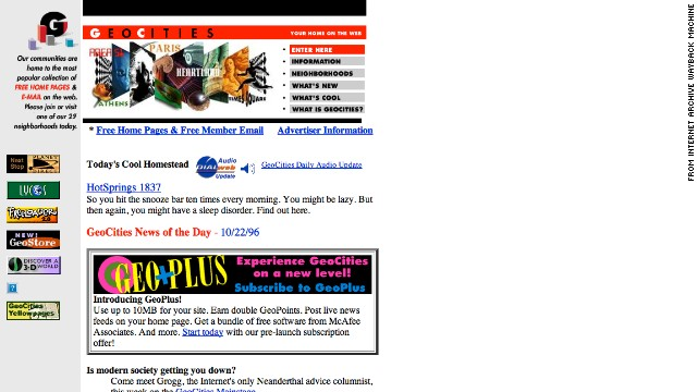 For those looking to find a sense of community online, the <a href='http://geocities.yahoo.com/index.php' target='_blank'>geocities.com</a> of October 1996 presented a colorful option.