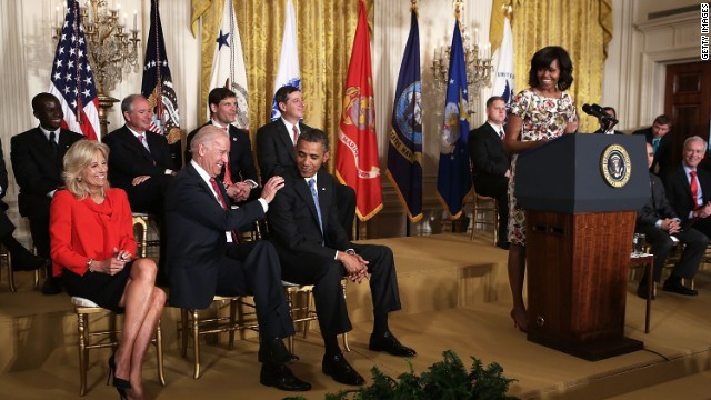 Obamas and Bidens team up for hiring veterans